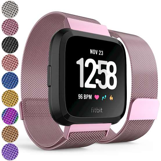 Replacement Strap for Fitbit Versa - Metal Milanese Band for Fitbit Versa (Pink)