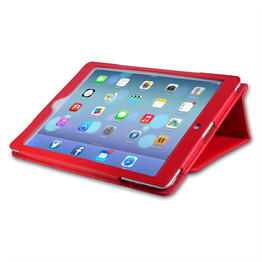 Caseflex iPad Air Textured Faux Leather Stand Cover - Red
