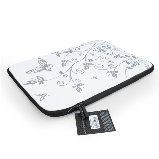 Caseflex 15.6 Inch  Laptop Case White / Silver Floral Butterfly Neoprene Sleeve Cover