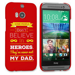 Caseflex Dad Heroes Quote HTC One M8 Case - Red