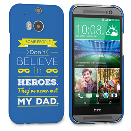Caseflex Dad Heroes Quote HTC One M8 Case - Blue