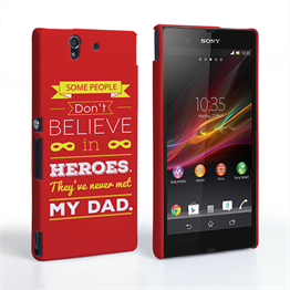 Caseflex Dad Heroes Quote Sony Xperia Z Case - Red