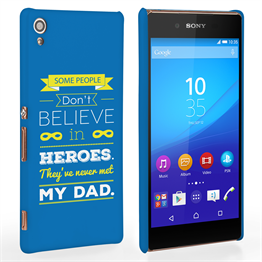 Caseflex Dad Heroes Quote Sony Xperia Z3+ Case - Blue
