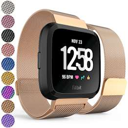Replacement Strap for Fitbit Versa - Metal Milanese Band for Fitbit Versa (Rose Gold)