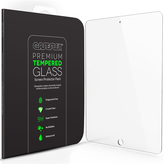 Caseflex iPad Air / Air 2 Tempered Glass Screen Protector [Retina Display Compatible 0.2mm Thickness / 9H Hardness Rating]