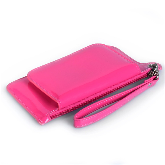 Caseflex iPhone 6 and 6s Leather Effect Gloss Purse - Hot Pink